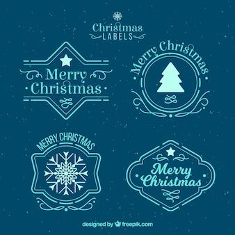 Etiquetas de feliz natal em azul claro