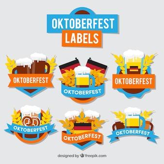 Etiquetas de festa alemãs com design plano