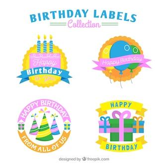 Etiquetas de festa de aniversário definidas em design plano