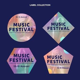 Etiquetas de festivais de música gradiente e colorida