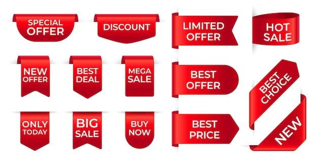 Etiquetas de fita vermelha. conjunto de etiquetas vermelhas exclusivas para compras