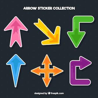 Etiquetas de flecha com estilo colorido