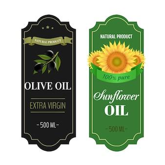 Etiquetas de girassóis e óleos de oliva branco