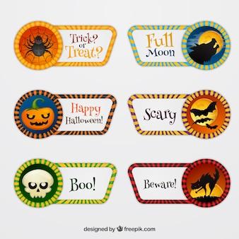 Etiquetas de halloween com estilo original