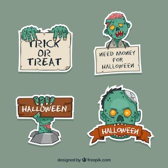 Etiquetas de halloween com zombie