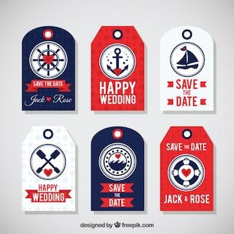 Etiquetas de mar planos para o casamento