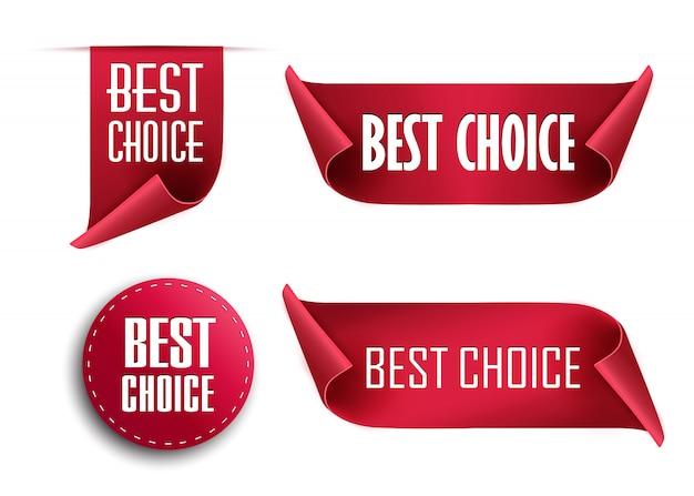 Etiquetas de melhor escolha, etiquetas vermelhas isoladas em branco