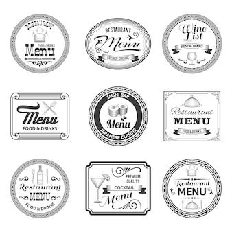 Etiquetas de menu retro