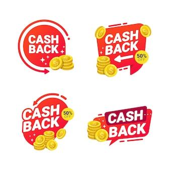 Etiquetas de modelo de crachás de cashback para reembolso de dinheiro