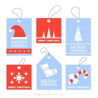 Etiquetas de natal azul e vermelho