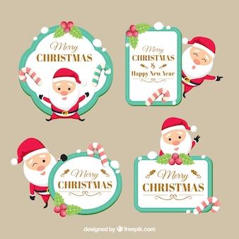 Etiquetas de natal com lindo papai noel