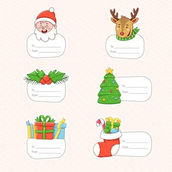 Etiquetas de natal com símbolos de férias de inverno etiquetas de presente para decoração de ano novo