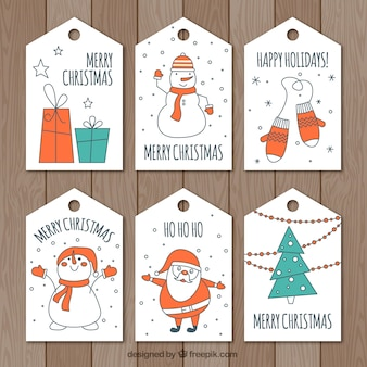 Etiquetas de natal desenhadas à mão