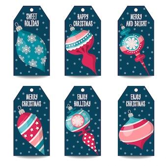 Etiquetas de natal ou coleção de etiqueta de preço com bolas de natal