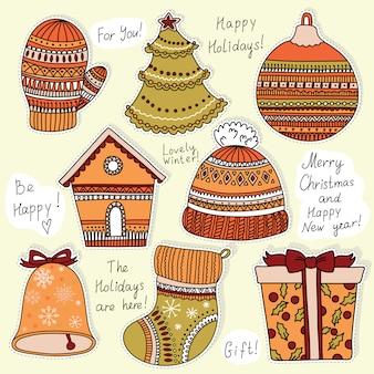 Etiquetas de natal para conjunto de presentes