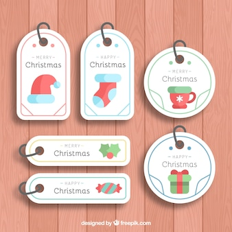 Etiquetas de natal simples e agradáveis