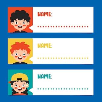 Etiquetas de nome para crianças em idade escolar