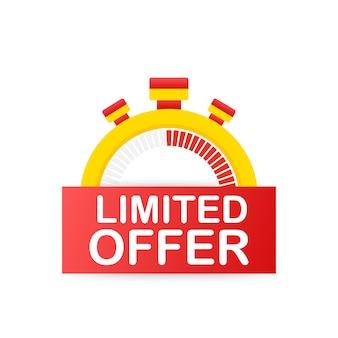 Etiquetas de oferta limitada. logotipo da contagem regressiva de relógio despertador. crachá de oferta por tempo limitado.