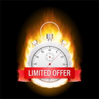 Etiquetas de oferta limitada. logotipo da contagem regressiva de relógio despertador.