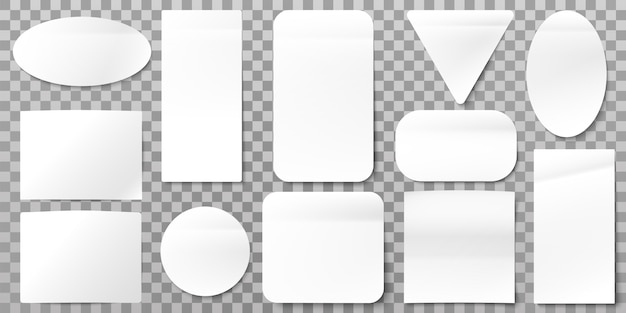 Etiquetas de papel branco. autocolantes em branco, etiquetas de papel colante e conjunto de formas de sinal