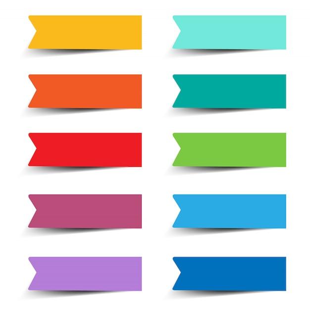 Etiquetas de papel definidas com fundo branco