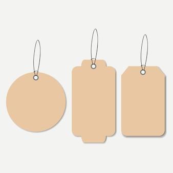 Etiquetas de papelão. etiqueta com corda de suspensão vazia. ilustração vetorial.
