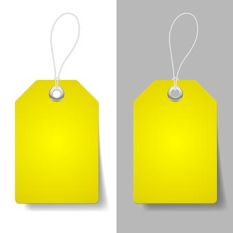 Etiquetas de preço amarelas