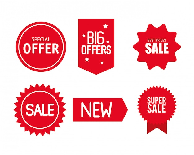 Etiquetas de preço, banners de fita vermelha de coleção, promoção de venda, adesivos para sites, ofertas especiais