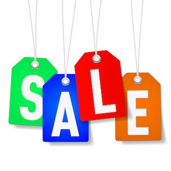 Etiquetas de preço com a palavra venda