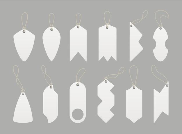 Etiquetas de preço. conjunto de etiquetas com cordão.