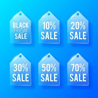 Etiquetas de preço de vidro de venda definidas com inscrições e diferentes taxas de porcentagem de desconto em azul.
