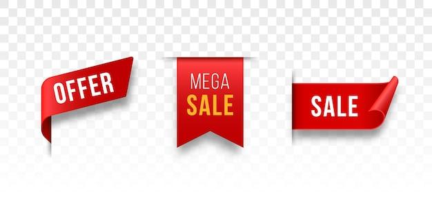 Etiquetas de preço em branco e fitas vermelhas e banners de venda com ícone 3d emaranhado com sombra transparente