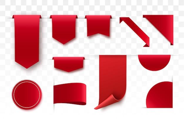 Etiquetas de preço em branco vermelhas, etiquetas ou emblemas.