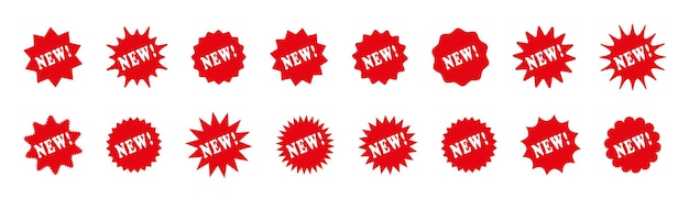 Etiquetas de preço estouradas de estrelas. novas caixas promocionais de chegada. ilustração vetorial.