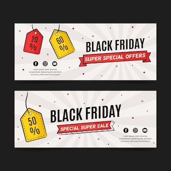 Etiquetas de preço faixas pretas desenhadas à mão na sexta-feira