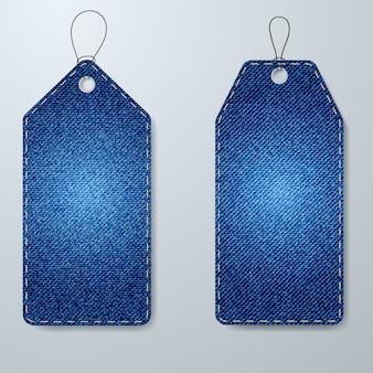 Etiquetas de preço textura de tecido denim