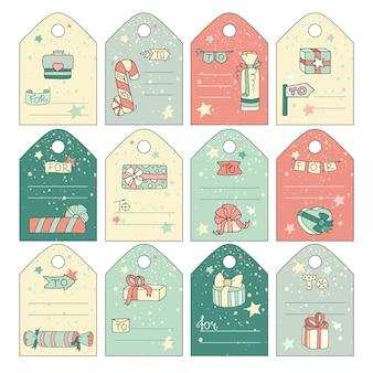 Etiquetas de presente bonito com caixas de presente dos desenhos animados doodle