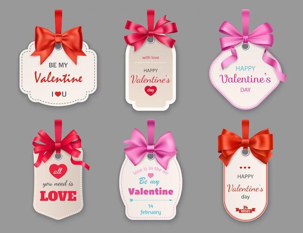 Etiquetas de presente com corações e fitas. dia dos namorados
