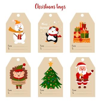 Etiquetas de presente com diferentes personagens pinguim santa bull boneco de neve ouriços e árvore de natal