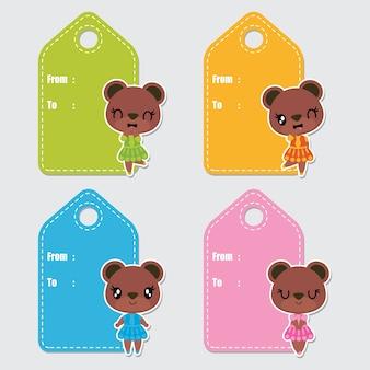 Etiquetas de presentes de desenhos animados bonitos coloridos do vetor das meninas do urso