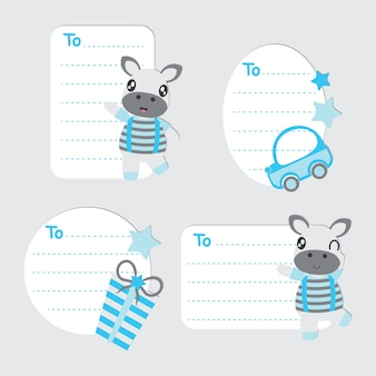 Etiquetas de presentes de desenhos animados bonitos para garotos e brinquedos da zebra