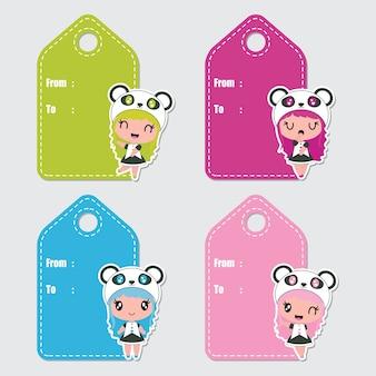 Etiquetas de presentes de desenhos animados coloridos das meninas panda