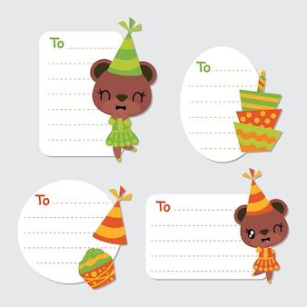 Etiquetas de presentes de ursos fofos e desenhos de vetor de elementos de aniversário
