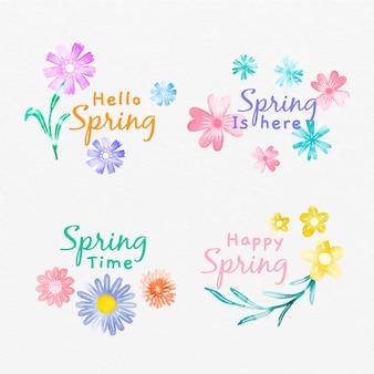 Etiquetas de primavera pintadas à mão