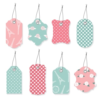 Etiquetas de rótulo têxtil bonito conjunto.