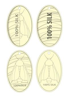 Etiquetas de roupas de produtos de seda