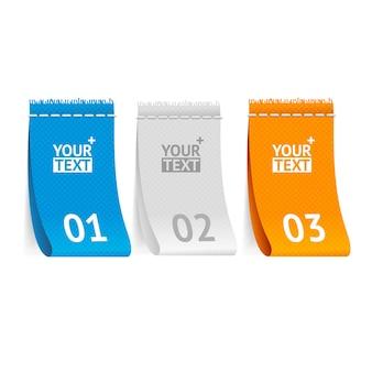 Etiquetas de roupas de tecido, verticalmente