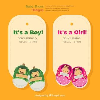 Etiquetas de sapatos de bebê