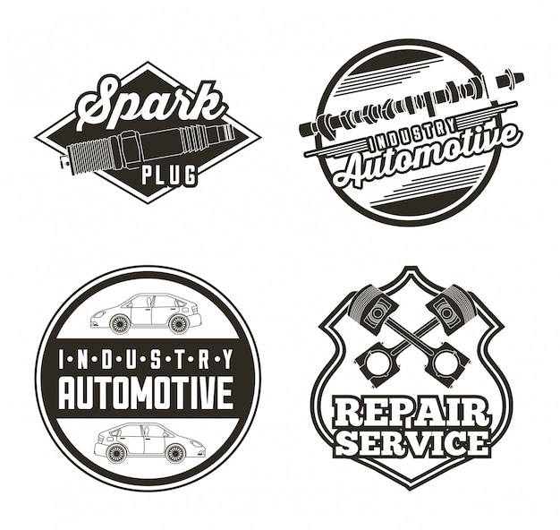 Etiquetas de serviço automotivo automotivo da indústria