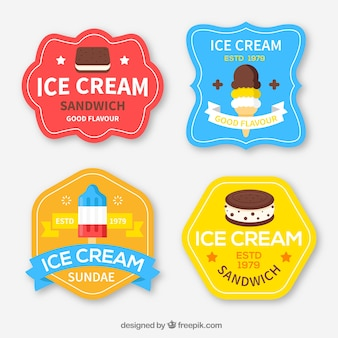 Etiquetas de sorvete vintage bastante coloridas